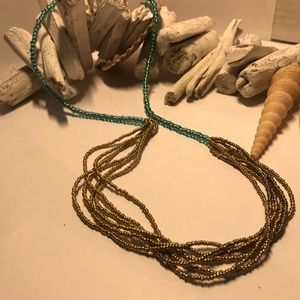 Unique Gold and Turquoise Coloured Beaded Necklace
